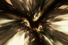 Abstract speed tunnel warp in space, wormhole or black hole, scene of overcoming the temporary space in cosmos. 3d Stock Photos