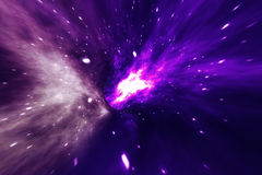 Abstract speed tunnel warp in space, wormhole or black hole, scene of overcoming the temporary space in cosmos. 3d Royalty Free Stock Photo