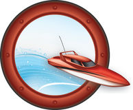 Abstract speedboat sign Stock Image