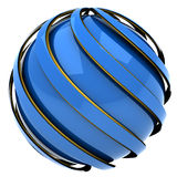 Abstract sphere. Of blue and gold, 3d image isolated Stock Photos
