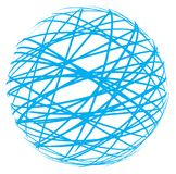 Abstract sphere from blue lines. On white background Royalty Free Stock Photo