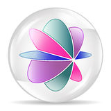 Abstract sphere, circle. White bubble with abstract flower inside. Royalty Free Stock Photography