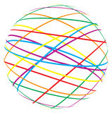 Abstract sphere from color lines. On white background Stock Photography