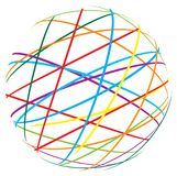 Abstract sphere from color lines. On white background Stock Photo