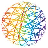 Abstract sphere from color lines. On white background Royalty Free Stock Photo