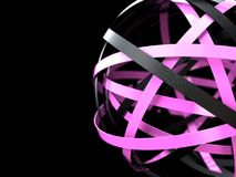 Abstract sphere consisting of a pink and black rings. 3d rendering illustration of futuristic sphere with black and pink rings vector illustration
