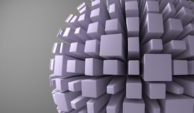 Abstract Sphere With Cubes. 3D Rendering Of Abstract Sphere With Cubes Closeup Stock Photos