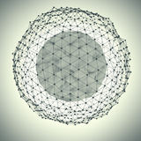 Abstract sphere with dots. 3d abstract sphere with dots, isolated on white background. Concept design. 3d redering. 3d illustration Royalty Free Stock Photos