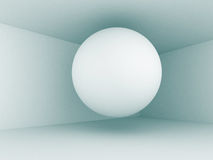 Abstract Sphere In Empty Architecture Interior Background. 3d Render Illustration Royalty Free Stock Images