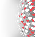 Abstract sphere with hearts on grayscale Royalty Free Stock Images