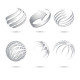 Abstract sphere icons collection. Set of 3d abstract vector white sphere element vector illustration