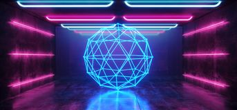 Abstract Sphere Laser Background Neon Retro Futuristic Sci Fi Modern Spaceship Glossy Spectrum Purple Blue Vibrant Pink Rainbow. Grunge Concrete Reflective vector illustration