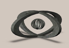 Abstract sphere logo grooved on a grey background Stock Image