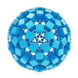 Abstract sphere made of blue glossy cubes. Abstract sphere composition made of blue glossy cubes isolated on white background Stock Image