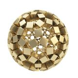 Abstract sphere made of golden cubes isolated. Abstract sphere composition made of golden glossy cubes isolated on white background Stock Photography