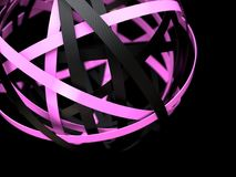 Abstract sphere with pink and black rings. Abstract 3d rendering of sphere with rings in empty space. Futuristic shape. Surreal background vector illustration