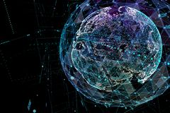 Abstract Sphere Shape Of Glowing Global Communication. Global Network Connection Visualization . Futuristic Earth Globe