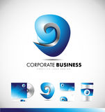 Abstract sphere sign business logo icon design. Abstract sign sphere corporate business 3d blue vector logo icon design template identity Stock Photo