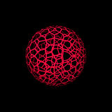 Abstract Sphere wireframe. Isolated on black background. 3d Vect. Or illustration Stock Image