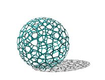 Abstract Sphere wireframe. Isolated on white background. 3D rend. Ering illustration stock illustration