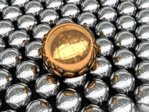 Abstract spheres background. Abstract 3d illustration of background with steel and gold spheres Royalty Free Stock Images