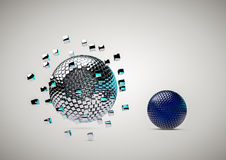 Abstract Spheres Background. The collapse of the 3D spheres on a cubical fragments Stock Photography