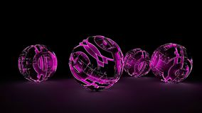 Abstract spheres of glowing circles and lines. Global Network connection concept. Science and technology background. Futuristic spheres. 3d illustration Royalty Free Stock Photo