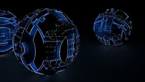 Abstract spheres of glowing circles and lines. Global Network connection concept. Science and technology background. Futuristic spheres. 3d illustration Royalty Free Stock Photography