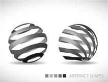 Abstract spheres made from gray stripes Royalty Free Stock Photo