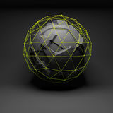 Abstract spherical object, chaotic fragmentation. Abstract spherical object with chaotic fragmentation surface covered with bright green lattice wire-frame mesh Royalty Free Stock Photo