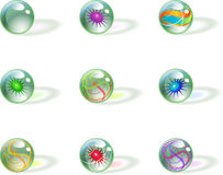 Abstract spherical signs. Illustrated set of abstract spherical signs isolated on white background royalty free illustration