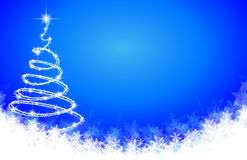 Abstract spiral Christmas tree on the background of snowflakes Stock Photo