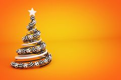 Abstract spiral christmas tree with dotted and striped balls. 3d render illustration on orange background. Holiday greeting card vector illustration