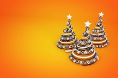 Abstract spiral christmas tree with dotted and striped balls. 3d render illustration on orange background. Holiday greeting card stock illustration