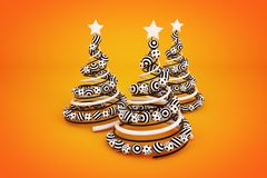 Abstract spiral christmas tree with dotted and striped balls. 3d render illustration on orange background. Holiday greeting card royalty free illustration