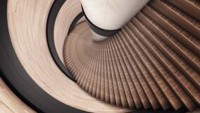 Abstract spiral ladder of brown color. Animation. Details of abstract interior, moving backwards along the stairs of a