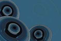 Abstract spiral shapes in 3D. All three circle groups are separated on different layers. Background circle shape and fill are also on separate layers. Elements stock illustration