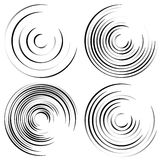 Abstract spiral shapes - Spirally, whirling circular element set Stock Photo