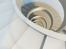 Abstract spiral staircase. Abstract endless spiral staircase with soft shadows. View from above. 3d-illustration Stock Photo