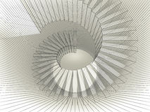 Abstract spiral structure perspective with wire-frame mesh. Lines. 3d render illustration stock illustration