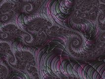 Abstract spiral textured fractal pattern in green and pink metallic colors, 3d render for poster, design and entertainment. Background for website and flyer vector illustration