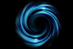 Abstract spiral tunnel with light blue smoke on black background.  stock photos