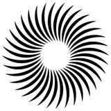 Abstract spiral, vortex element. Radiating, radial bent lines. Stock Photos