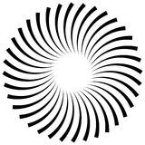 Abstract spiral, vortex element. Radiating, radial bent lines. Royalty Free Stock Photography