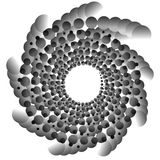 Abstract spirally monochrome element with overlapping circles Stock Image