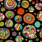 Abstract spirals and circles, seamless pattern for your design Stock Photos