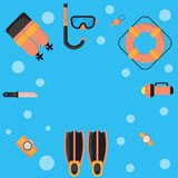 The illustrations are dive equipment icons. The illustrations are dive equipment icons, including diving masks, oxygen tanks, fins, dive cameras, lifebuoys Royalty Free Stock Photography