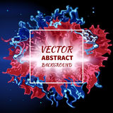 Abstract splash of fire. Splash of colors on a dark background. Abstract red fire flame and a blue smoke.Vector illustration Stock Images