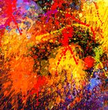 Abstract  Splash Painting -Acrylic on Canvas Painting Stock Image