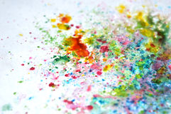 Abstract splashes of watercolor on bluish background Stock Photo